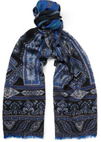Etro Patterned Wool And Yak-blend Scarf - Blue