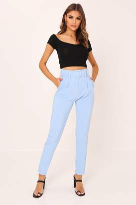 I SAW IT FIRST Pastel Blue Circle Belt Cigarette Trousers