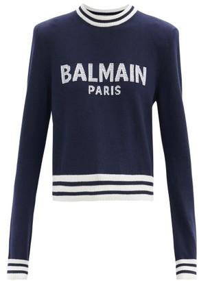 Balmain Cropped Logo-jacquard Sweater - Navy Multi