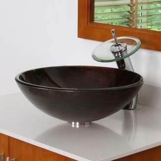 Elite Neutral Handcrafted Glass Circular Vessel Bathroom Sink Drain Finish: Chrome