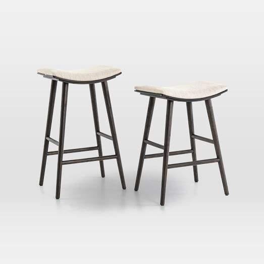 Astounding Oak Wood Upholstered Saddle Bar Counter Stools Alphanode Cool Chair Designs And Ideas Alphanodeonline