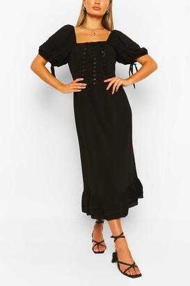 boohoo Lace Panel Ruffle Hem Midaxi Dress