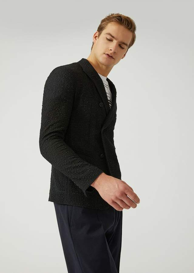 Emporio Armani Double-Breasted Geometric Embossed Jacket
