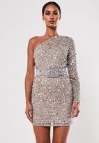 Missguided Silver One Shoulder Embellished Mini Dress