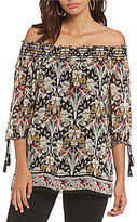 M.S.S.P. Printed Off-the-Shoulder Blouse