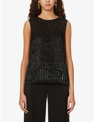 Max Mara Elegante Asia sleeveless embellished woven top