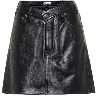 Balenciaga V-neck leather miniskirt