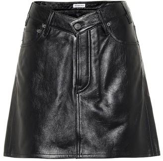 Balenciaga V-neck leather miniskirt