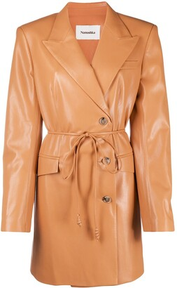 Nanushka Belted Faux-Leather Jacket