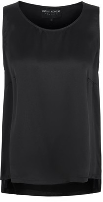 Lindsay Nicholas New York Sleeveless Shell In Black Silk Satin
