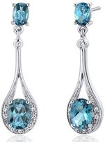 Peora Glamorous 4.00 carats London Topaz Oval Dangle Cubic Zirconia Earrings in Sterling Silver