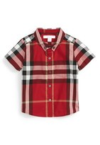 Burberry 'Mini Fred' Check Woven Short Sleeve Shirt (Baby Boys)