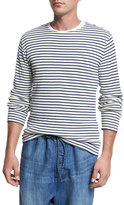 Vince Raw-Edge Striped Knit Cotton Crewneck Sweater, Off White/Navy