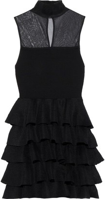 Alice + Olivia Janice Mesh-paneled Tiered Stretch-knit Mini Dress