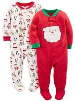 Simple Joys by Carter's Baby 2-Pack Holiday Loose Fit Flame Resistant Fleece Footed Pajamas