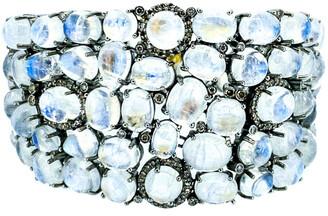 Arthur Marder Fine Jewelry Silver 2.80 Ct. Tw. Diamond & Moonstone Bracelet