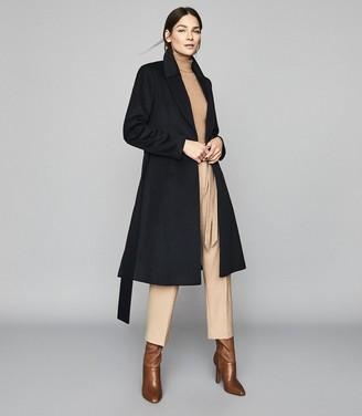 Reiss Hattie - Wool Blend Longline Coat in Navy