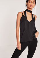 Missguided Neck Scarf Cami Top Black