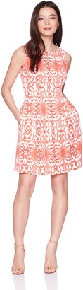 Gabby Skye Women's Petite Aztec Printed a-Line Dress