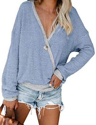 Plus Size Sweaters for Women Loose Casual Batwing Sleeve Tops Fall Shirts Light Blue 2XL