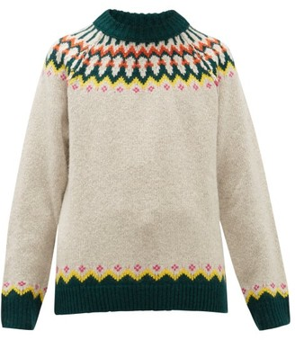 Burberry Gunner Fair-isle Wool-blend Sweater - Beige