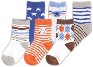 Luvable Friends Socks, 6-Pack, Blue, 0-12 Months