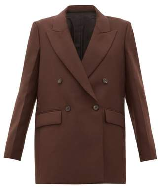 Joseph Morgan Double-breasted Twill Blazer - Womens - Brown