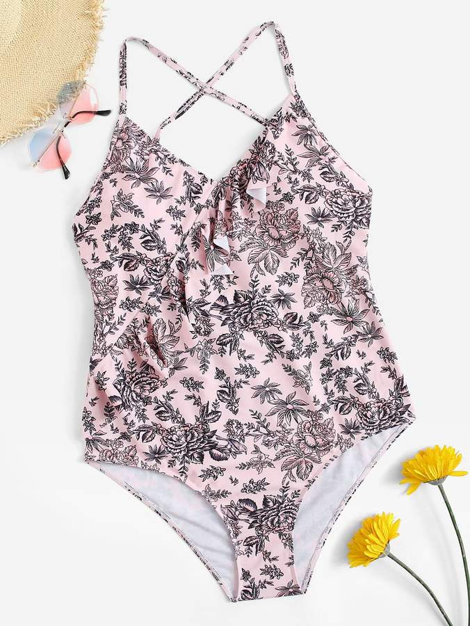 9b8e3c4198 Shein Pink One Piece Swimsuits - ShopStyle