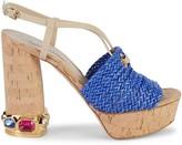 Casadei Embellished Leather Slingback Heeled Sandals