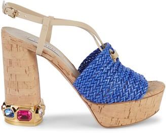 Casadei Jewel-Embellished Leather Platform Slingback Sandals