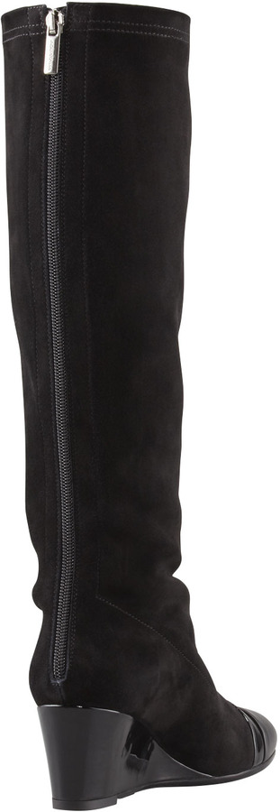 Aquatalia by Marvin K Juno Stretch Suede Wedge Knee Boot, Black