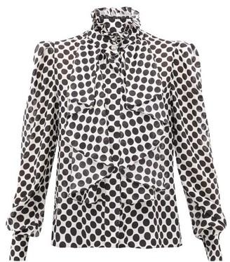 Alexandre Vauthier Polka-dot High-neck Silk Blouse - Womens - White Black