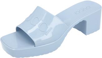 Gucci Light Blue Rubber Slide Sandal Size 36