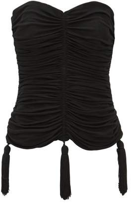 Saint Laurent William Vintage Rive Gauche 1980s Ruched Jersey Bustier - Womens - Black