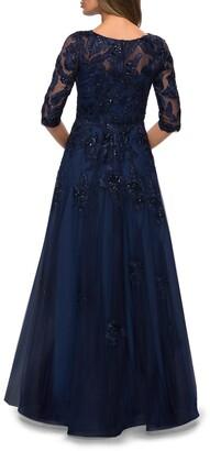 La Femme Beaded Floral Applique Tulle A-Line Gown