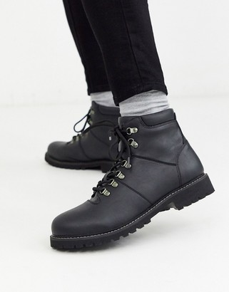 Jack and Jones faux leather hiking boot-Black