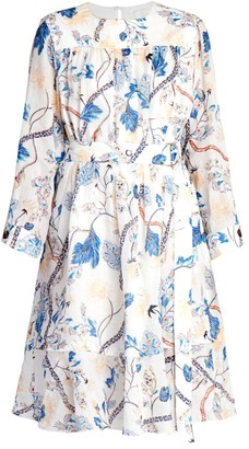 Chloé Belted Floral Ramie Dress
