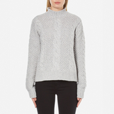 Gestuz Women's Sanni Pullover Grey Cable Knit Jumper Grey