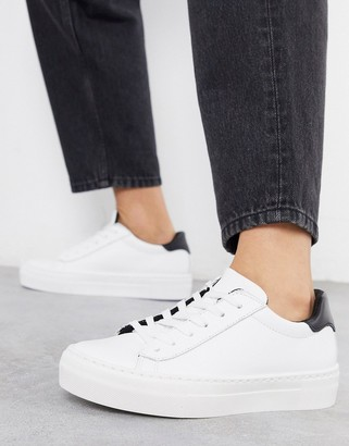 ASOS DESIGN Dora leather lace up sneakers in white