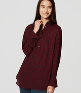 LOFT Petite Filigree Shirred Henley Tunic