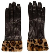Miu Miu Leather Fur-Trimmed Gloves