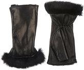 Barneys New York Women's Fur-Lined Nappa Leather Fingerless Gloves-BLACK