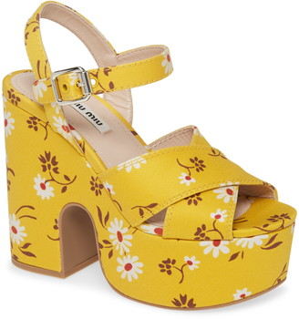 Miu Miu Floral Platform Quarter Strap Sandal