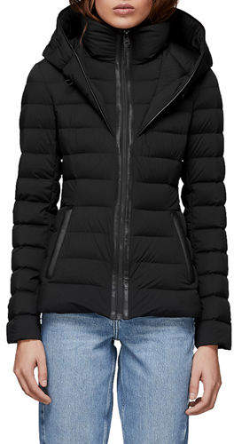 Mackage Andrea Hooded Puffer Jacket w/ Leather Trim