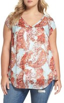 Daniel Rainn Plus Size Women's Metallic Print Cap Sleeve Top