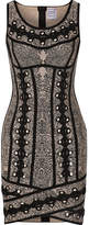Herve Leger Eyelet-embellished Jacquard-knit Mini Dress - Black
