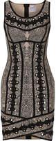 Herve Leger Eyelet-embellished Jacquard-knit Mini Dress