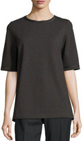 Lafayette 148 New York Short-Sleeve Relaxed Faux-Leather Trim Top, Smoke