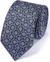 Charles Tyrwhitt Mid Blue Linen Mix Italian Luxury Circle Tie Size OSFA