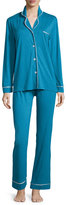 Cosabella Bella Long-Sleeve Pajama Set, Ardesia Blue/Ivory